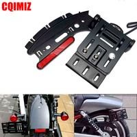 Motorcycle Telescopic Folding LED Tail Light Side Mount License Plate Holder For Harley Dyna Fat boy Sportster 883 1200 XL 04 16