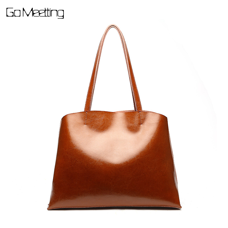 Go Meetting Vintage Big Tote Bag Genuine Leather Bag Female Handbag Top-Handle Bags Women Shoulder Bags 2018 bolsa feminina luyo genuine leather casual tote big bag handbag basket shoulder top handle bags female women designer handbags bolsa feminina