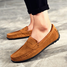 LAKESHI Loafers Men Shoes Summer Casual Boat Shoes Men Suede Leather Moccasins Men's Driving Shoes Slip On Leisure Flats 38-47