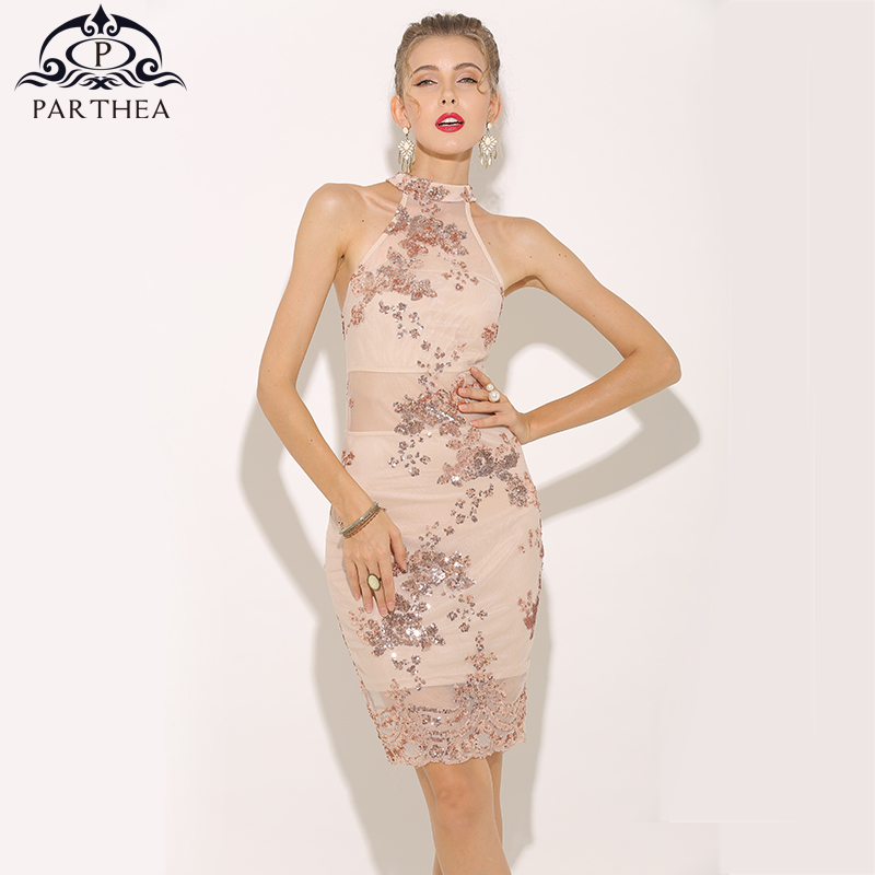 eb7d450c71cff US $18.99 30% OFF|Parthea Sexy Summer Dress 2018 Halter Rose Gold Sequin  Dress Elegant Women Mesh Sheer Party Dress Sleeveless Dresses Vestido  New-in ...