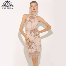 Parthea Sexy Summer Dress 2018 Halter Rose Gold Sequin Elegant Women Mesh Sheer Party Sleeveless Dresses Vestido New