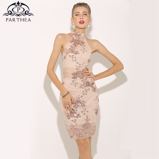 Parthea Y Summer Dress 2018 Halter Rose Gold Sequin Elegant Women Mesh Sheer Party