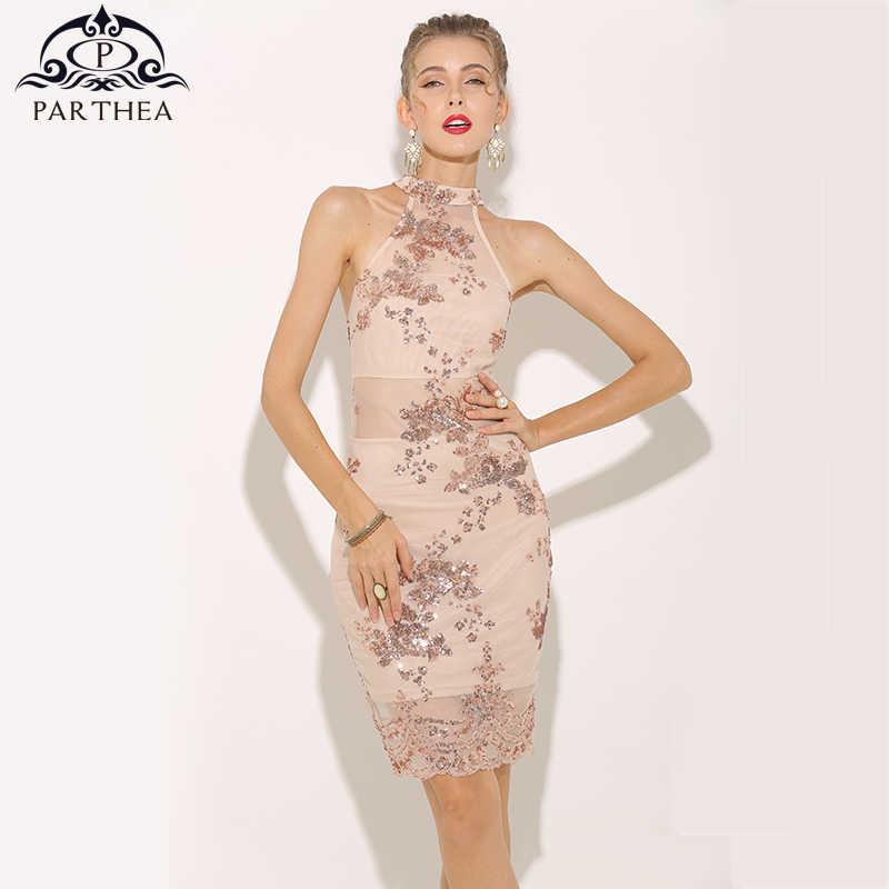 8149da3873 Parthea Sexy Summer Dress 2018 Halter Rose Gold Sequin Dress Elegant ...