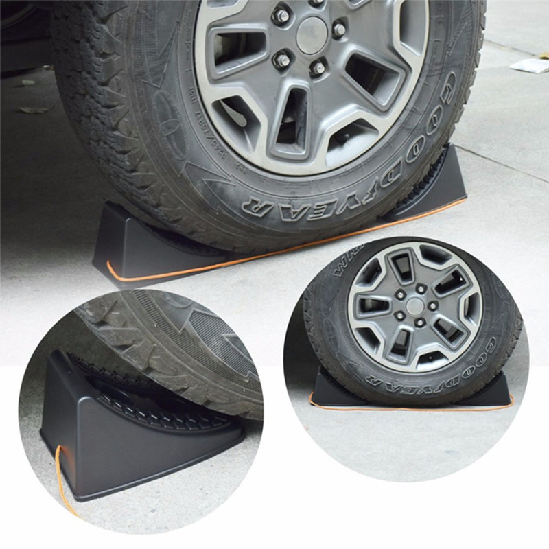 2pcs Car Auto Anti-slip Block Rubber Car Tire Slip Stopper Control Car Wheel Alignment Block Tire Support Pad Car-styling
