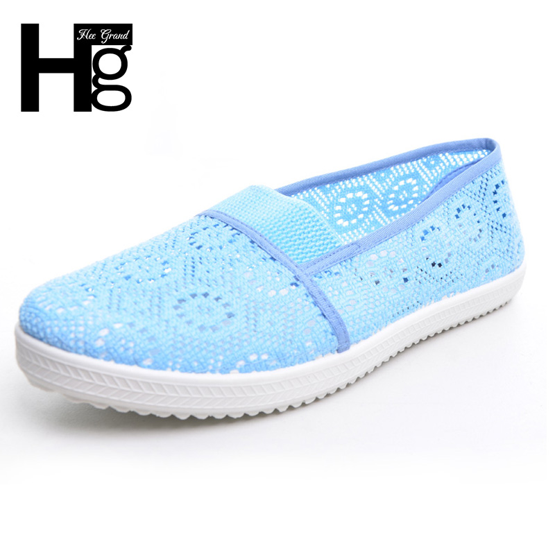 HEE GRAND Nest Women Shoes Spring Summer Soft Insole Flat Shoes Causal Lace Shoes Slip On Mother Shoes Plus Size 5~9 XWF311