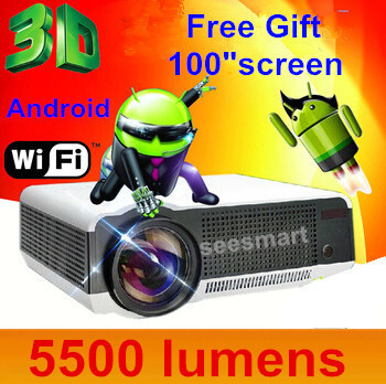 Built-in Android 4.2 Smart Wireless Wifi RJ45 HomeTheater 1080PTV LED Video Projector 3D with brightness 5500lumen led projector