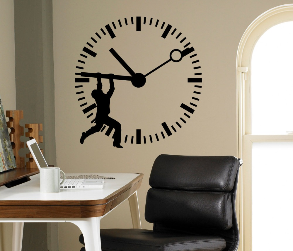 Man Silhouette Stop The Time Art Wall Sticker Clock Patterned Home Office Business Decorative Vinyl Wall Mural Declas M-28