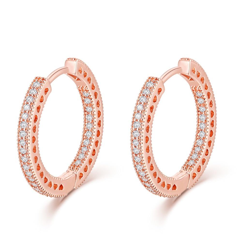 Pandulaso Fine Jewelry Openwork Heart Hoop Earrings European Style Rose Gold Hoop Earrings For Woman Jewelry Making Wholesale pair of vintage rhinestoned heart hoop earrings for women