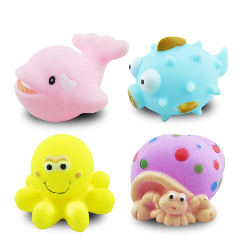 One Dozen 4pcs Rubber Animals With Sound Baby Shower Party Favors Toy L224