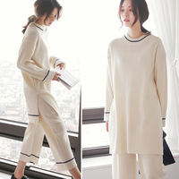 Women's Spring and Autumn striped cotton pajamas female Korean casual loose simple comfort women tracksuit suit A589