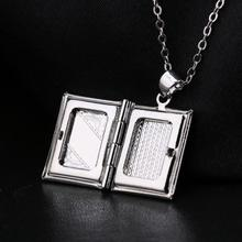 Women Men 925 Sterling Silver Book Box Photo Locket Pendant Necklace Silver Plated Metal Alloy Photo Frame Pendant Charm Jewelry все цены