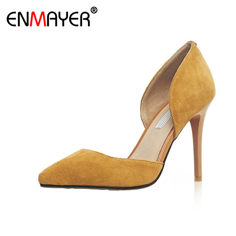 ФОТО ENMAYER Flock Pointed Toe Office High Heels  Black Shoes Women Genuine Leather Hot Fashion Spring/Autumn Women Pumps for Party