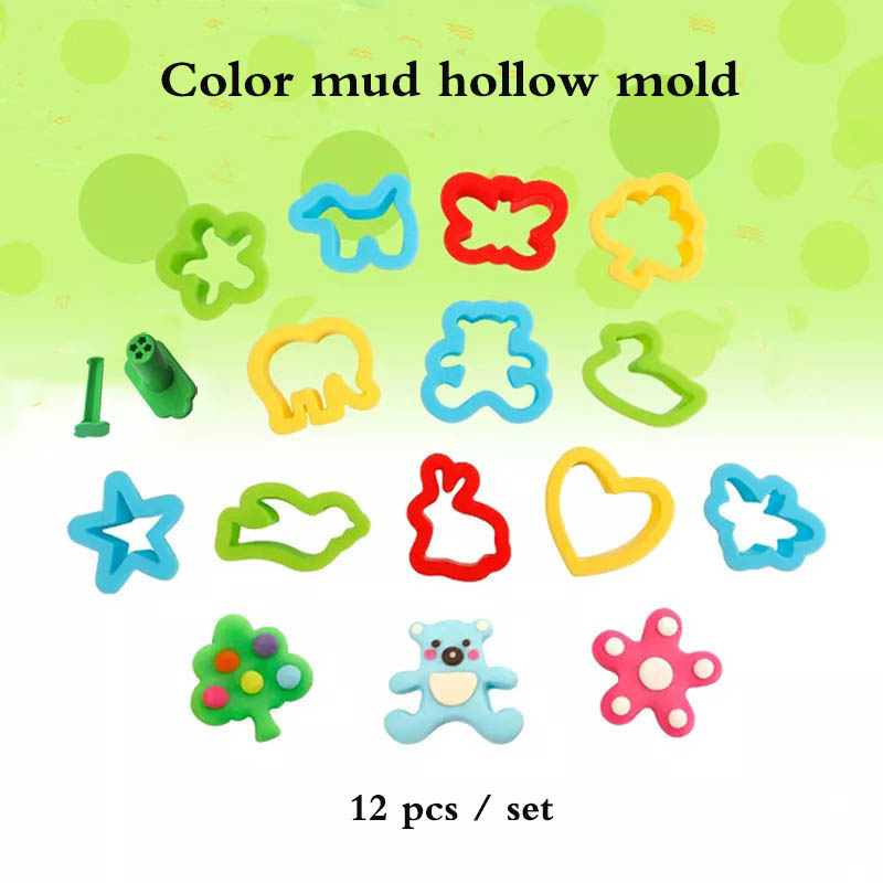 12pcs/set Plasticine Hollow Mold Animal  Love Heart Shape Polymer Clay Mould Baby Children Toys Plasticine Tools Educational Toy
