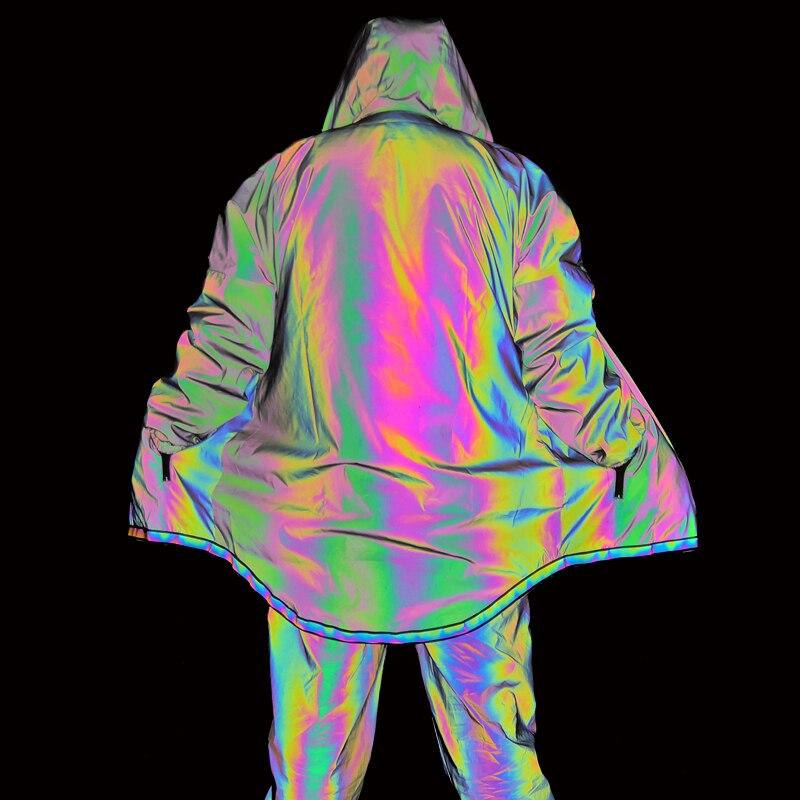 2019 graben Mantel Männer Bunte Dünne Lange Jacke Männer Reflektierende Jacken Mit Kapuze Mantel Nachtclub Punk Windjacke Jaqueta Masculino-in Trench aus Herrenbekleidung bei  Gruppe 2