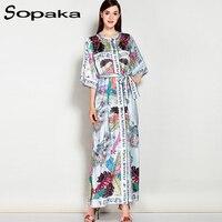 SOPAKA High Quality Short Sleeve Loose Floral Printed Sashes Runway Designer Women Dress 2017 Summer Casual