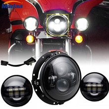 7 Inch Daymaker Harley LED Headlight with 4.5 Inch Fog Lamps For Harley Davidson Motorcycle Electra Glide Softail Fat Boy(China)