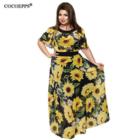 COCOEPPS Summer Women Chiffon Long Dresses Big Size Sunflower Floral Print Derss Large Size Batwing Sleeve