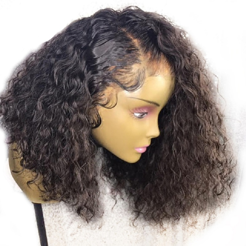 180 Density Brazilian Curly Lace Front Wigs For Women Remy Human Hair Glueless Lace Wig Pre-Plucked Hairline Favor Short BoB Wig ...
