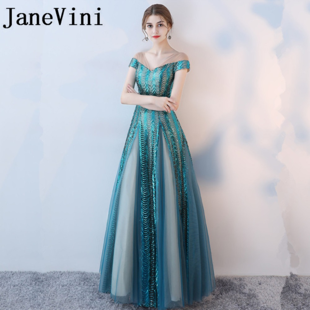 JaneVini 2018 Shining Sequins Long   Bridesmaid     Dresses   Plus Size Sheer Neck Backless Floor Length Sexy Pageant Formal Prom Gowns