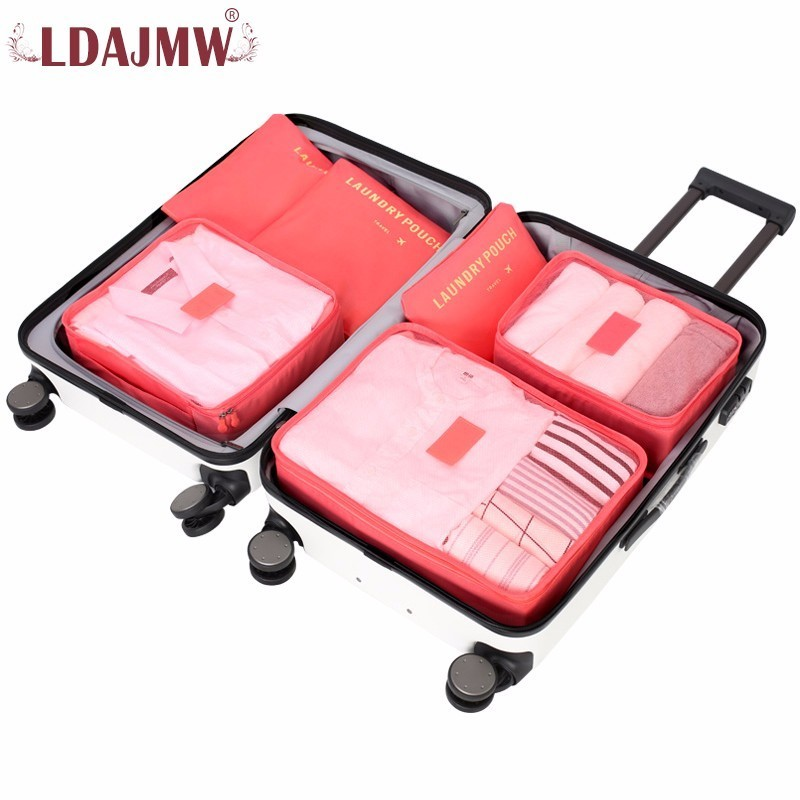 LDAJMW 6PCS/Set Travel Bag Waterproof Clothes Underwear Organizer Pouch Suitcase Home Closet Divider Container