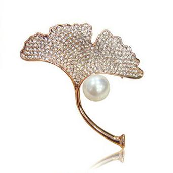 Crystals leaf simulated pearl Brooch for wedding