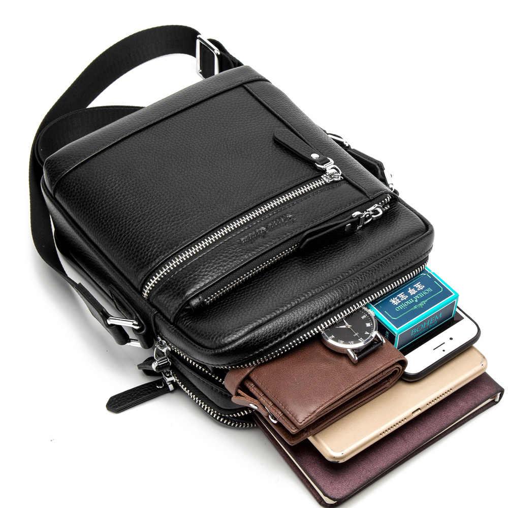 BISON DENIM, Классическая Черная мужская сумка, натуральная кожа, деловая сумка через плечо, iPad, мужская сумка-мессенджер, повседневная мужская сумка, N2845