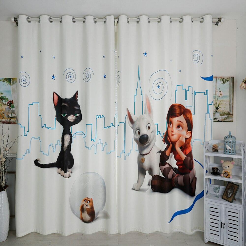 사용자 정의 만든 배 그로밋 창 휘장 커튼 보육 아이 어린이 방 창 드레싱 얇은 명주 그물 200x260 센치 메터 소녀 고양이 개 화이트