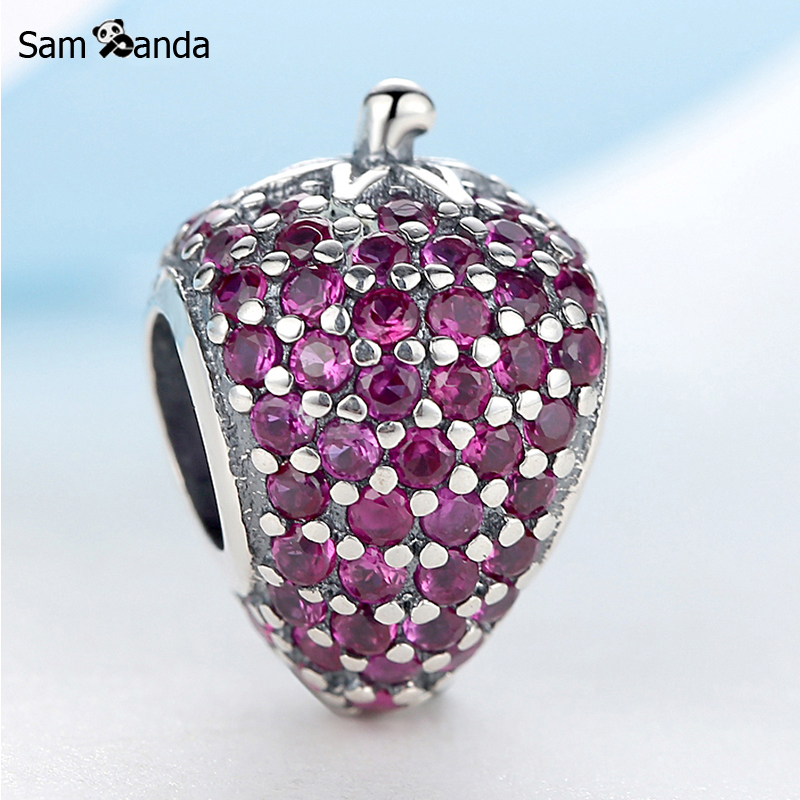 Authentic 925 Sterling Silver Beads Charms Pave Strawberry Red Crystal DIY Bead Fit Pandora Charm Bracelets & Bangles Jewelry