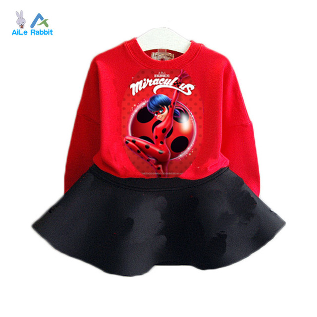 AiLe Rabbit 2017 new spring fashion girls long sleeve clothing Red ladybug cartoon characters o-neck T-shirt + skirt 2pcs/sets