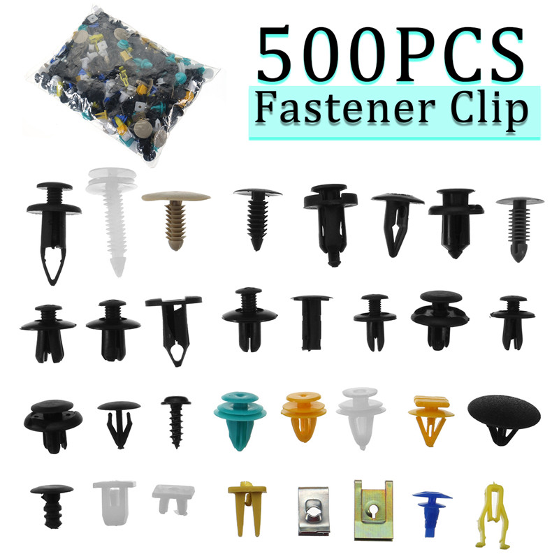 1Set /500Pcs Auto Mixed Fastener Clip Bumper  Car Push Engine For Fender Fastener Clip  Door Trim Panel Clip Fastene
