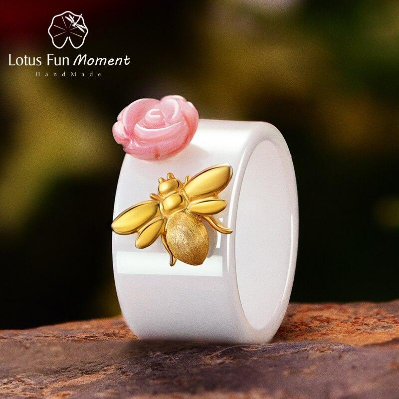 Lotus Spaß Moment Echt 925 Sterling Silber Mode Schmuck Natürliche Rosa Shell Rose Blume Ringe Bee Keramik Ring Für Frauen bijoux