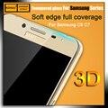 Premium HD Cores Fibra De Carbono macio borda Curvada 3D completo tampa de vidro temperado film protector de ecrã para samsung galaxy c5 C7