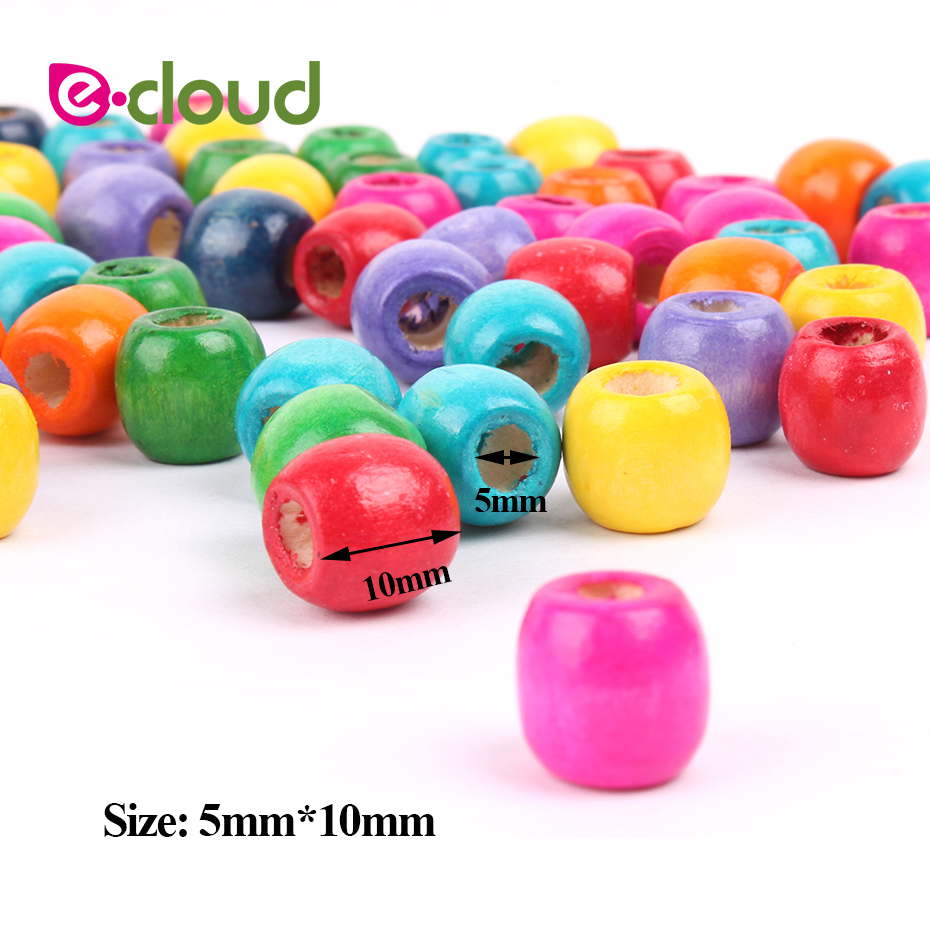 Colorful Wooden Hair Beads for Hair Accessory Tools 5mm Inner Hole 50pcs lot to 100pcs lot Crochet Deardlock Braids Beads in Links Rings Tubes from Hair Extensions Wigs