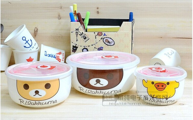 BEAR PATTERN BONE CHINA FOOD CONTAINER MICROWAVE BOWL THREE PIECEin Gorgeous Microwave Bowl Pattern