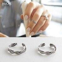 HUCHE Punk Ortak Ringen 925 Gümüş Yüzük Kadınlar için Örgü Ayarlanabilir Yüzük Parmağı Kadın Gümüş Takı HC045