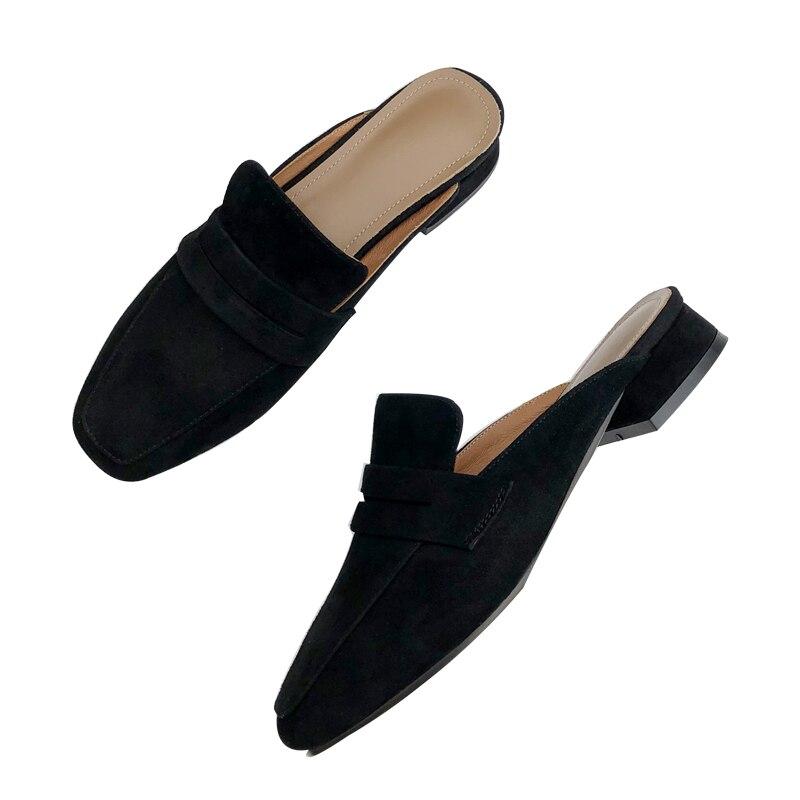 Pantoufles Britannique marron Beige Des Nouvelle 2018 Carré Vent Sandales Avec Sauvage D'été Talons Femelle Et Simple Porter noir Bas Mode gYBTByH1O
