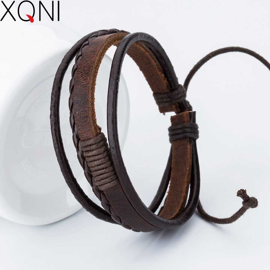 New Fashion Charm Leather Men's Bracelets Popular Boys Bangle Courage Bracelet  DIY Handmade Cross Bracelets!