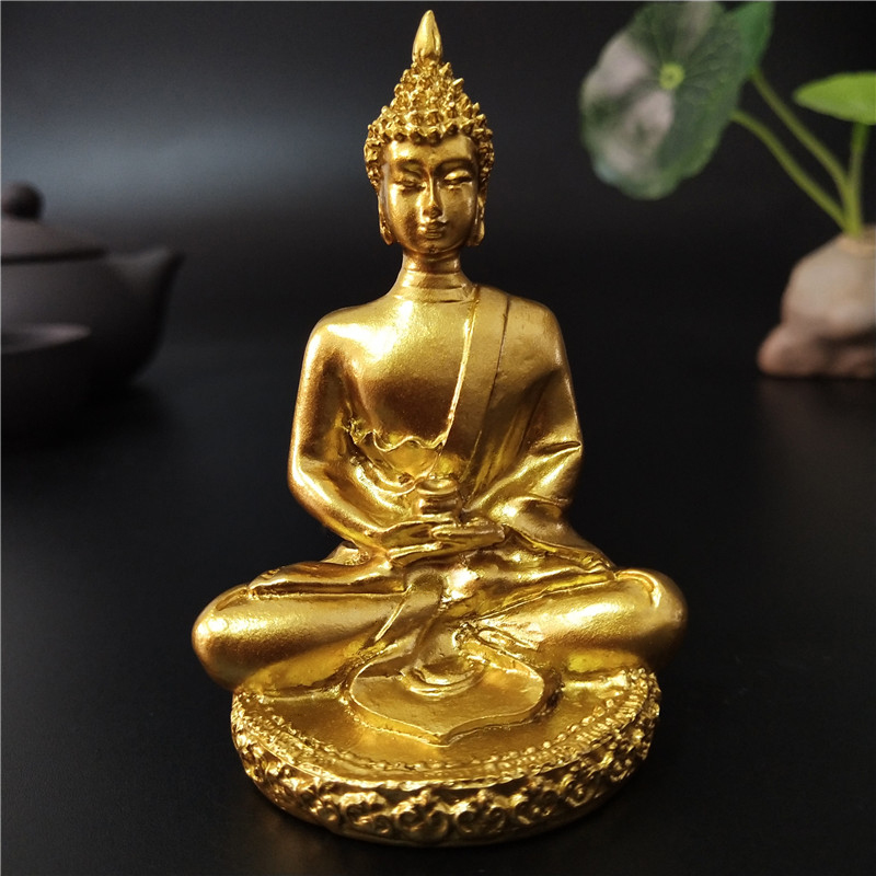 Golden Thailand Buddha Statue Meditation Buddha Sculpture Hindu Fengshui Figurine Ornaments Home Garden Decoration Statues