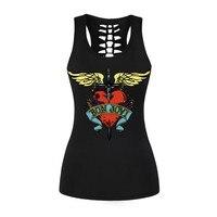 Рок Стиль Для женщин Skintight майка 3D Wing Сердце печати жилет Bon Jovi выдалбливают О Средства ухода за кожей шеи без рукавов Рубашки для мальчиков Б...