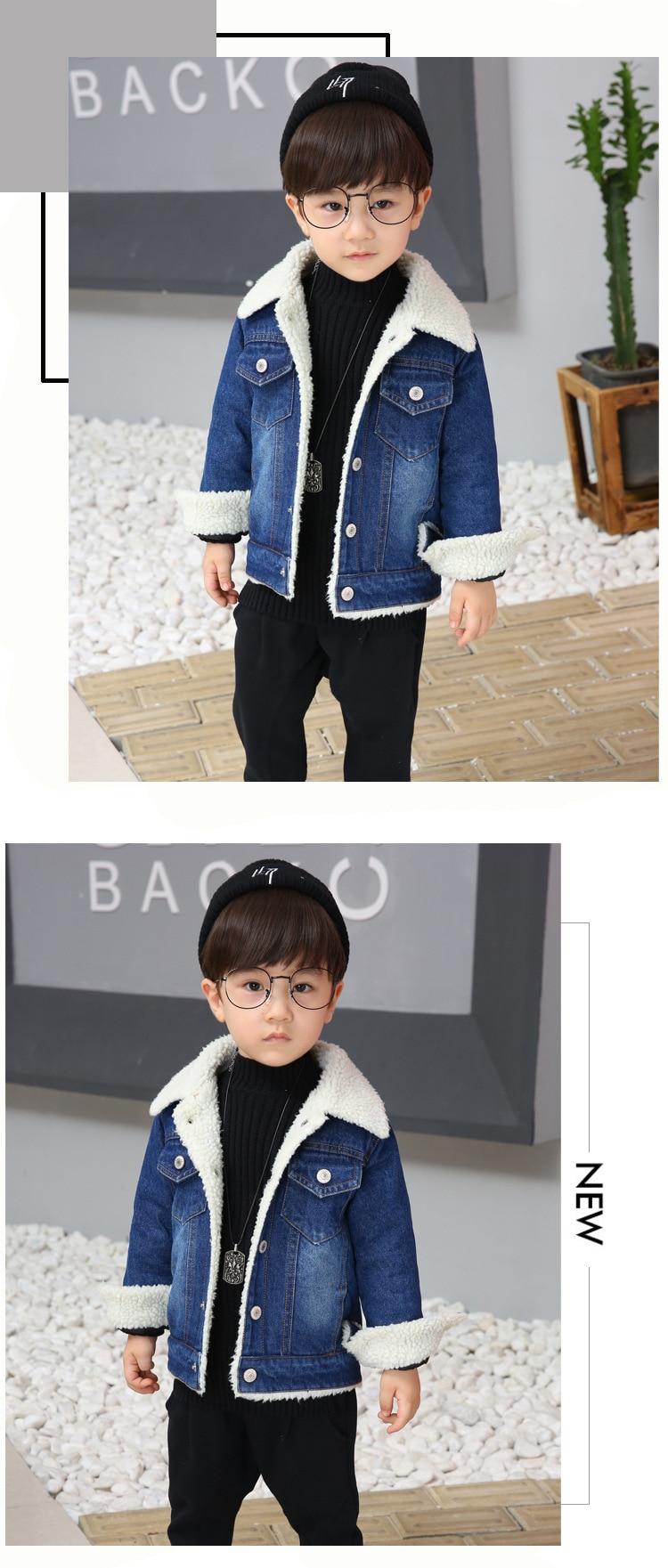 US $25.34 5% OFF|jean jackets for boy winter baby boys coat fake fur coat girls jackets denim baby clothing boys children roupas infantis menina in