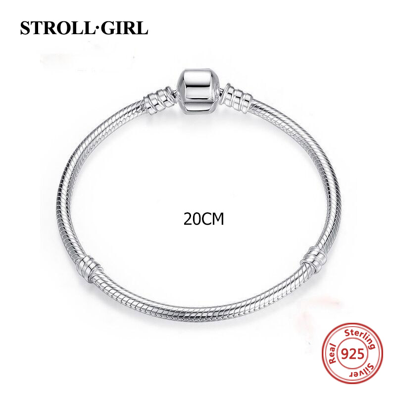 Strollgirl 20cm Snake Chain real 925 Sterling Silver original Charms Bracelet luxury Fashion diy Jewelry making for women gifts strollgirl silver 925 bat growing charms pendant beads fit original pandora bracelet diy fashion jewelry making for women gifts