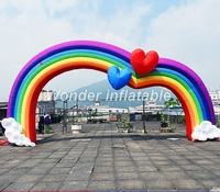 Customized giant inflatable rainbow arch inflatable wedding arch with hearts for party events decoration