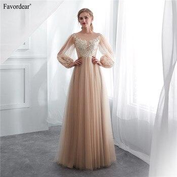 Favordear 100% Real Photos 2019 New Vestido De Noiva Formal Women's Long Lanten Sleeve Wedding Dress Champagne Bridal Gowns