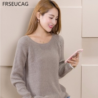FRSEUCAG New Fashion Winter Ladies Round Neck Cashmere Sweater Pullovers Solid Color Knitted Sweater Thickening Warm