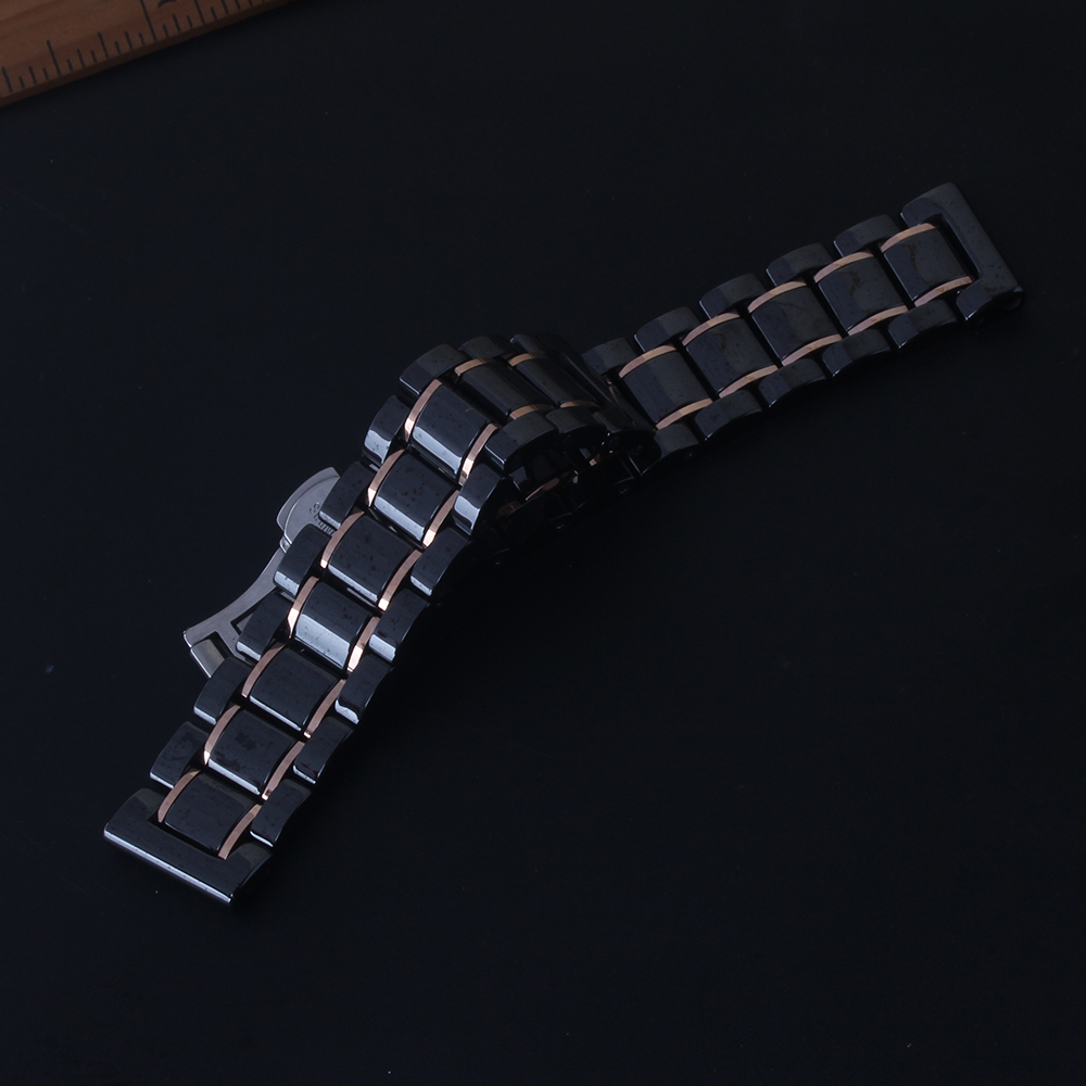 Quick Release Pins Watchband for Galaxy Wrist watches men women Black Ceramic Polished 18mm 19mm 20mm 21mm 22mm 23mm 24mm Straps