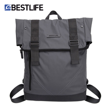 BESTLIFE Men Casual Backpacks PU Leather Flip Mochila Escolar Fashion Male Urban Waterproof Laptop Travel Bags Bagpack Rucksack