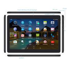 Yuntab K107 10.1inch Tablet PC 1GB+16GB Quad-Core with Bluetooth Dual Camera Dual SIM Card Cell phone 1280X800 (Black)