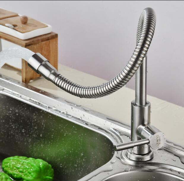 304 stainless steel kitchen faucet Vegetable Wash Basin Mixer Universal tube Tap 360 degree rotation Single