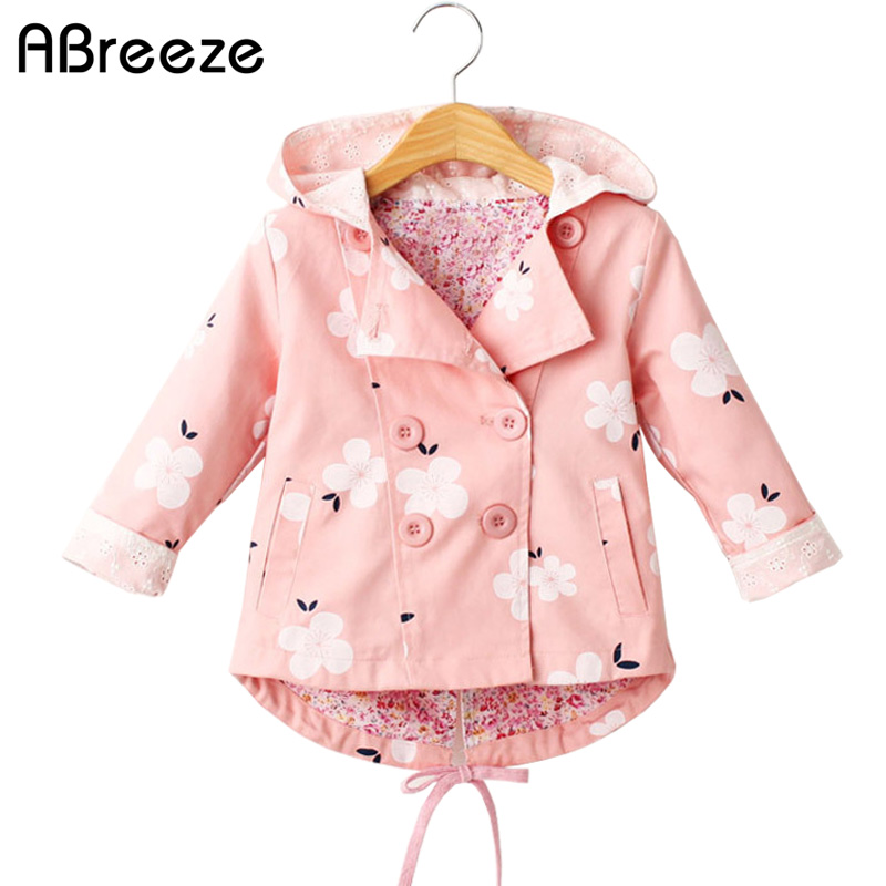 2017 New autumn children   trench   England style 3T 7T kids outerwear & coats for girls casul floral print hooded windbreaker girls