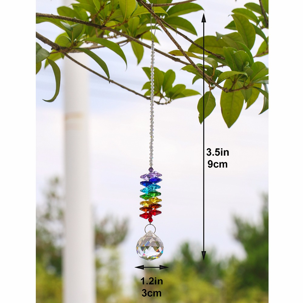 Купить с кэшбэком H&D Chakra Crystal Suncatcher Chandelier Crystal Ball Prisms Pendant Rainbow Maker Window Hanging Ornament Home Wedding Decor